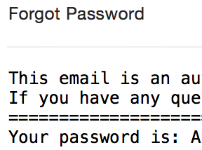 email showing plain text password