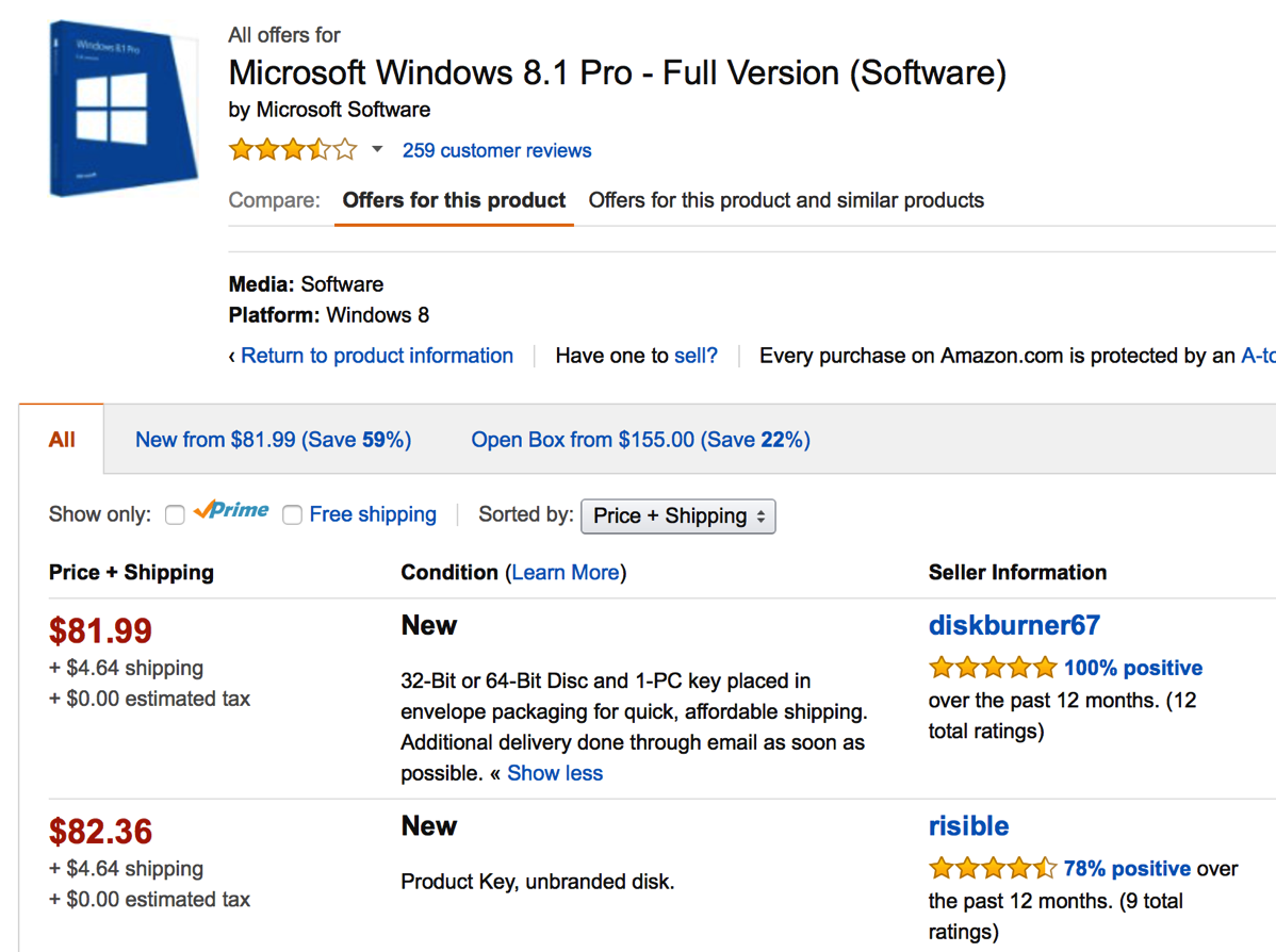 windows 8.1 listing on amazon